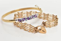 A 9CT GOLD BANGLE AND BRACELET, the plain hollow sprung bangle with central amethyst and topaz