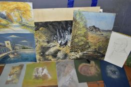 A PORTFOLIO OF WATERCOLOURS, PASTELS AND PRINTS, to include a landscape with stream signed Anthony
