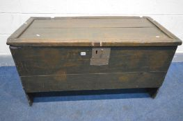 A LARGE 17TH CENTURY OR LATER OAK BOARDED CHEST, overpainted green, with later hinges, width 116cm x
