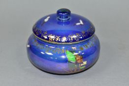 A FIELDINGS DEVON LUSTRE ' ROYAL GEORGE' CIRCULAR TRINKET BOX AND COVER, printed with gulls to the