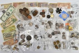 A SHOEBOX CONTAINING WORLD COINS, to include an 1845 braided hair cent, 1892 crown, a 1797 good