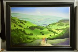 MACKENZIE THORPE (BRITISH 1956) 'OVER MOOR AND DALE', a signed limited edition print of cyclists