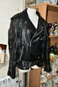 AN HLF LEATHER JACKET, black, size large, with laced sleeve and side detail, interior and exterior