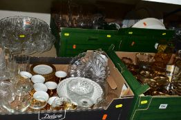 FOUR BOXES AND LOOSE GLASS AND CERAMIC WARES, to include vintage gilt banded drinking glasses,