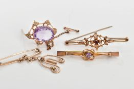 FOUR YELLOW METAL BROOCHES, to include an openwork floral bar brooch, set with a central small