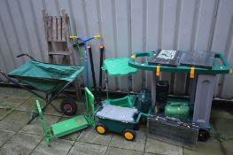 A PLASTIC ZAG WHEELED POTTING GARDEN TROLLEY, Hozelock wheeled trolley, fabric wheel barrow, wheeled