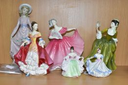 A LLADRO FIGURE AND FIVE ROYAL DOULTON LADY FIGURES, the Royal Doulton comprising Ninette HN3215,