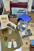 MOTORING, MILITARY AND FREEMASONRY INTEREST - A BOX OF VINTAGE EPHEMERA AND OTHER ITEMS to include a