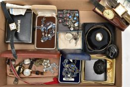 A TRAY OF ASSORTED JEWELLERY AND WRISTWATCHES, to include two gents gold-plated wristwatches, a