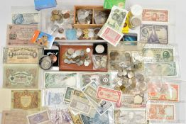 A Plastic box of mixed world coins and banknotes. To include: A box of USA early and mid-20th