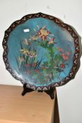 A CHINESE CLOISONNE SHALLOW DISH, the central section decorated with birds, foliage and flowers, the