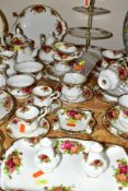 FORTY TWO PIECES OF ROYAL ALBERT 'OLD COUNTRY ROSES' TEAWARES, ETC, comprising three tier cake