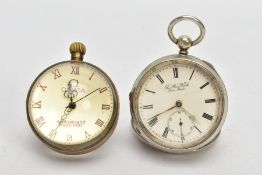 AN OPEN FACE POCKET WATCH AND A TABLE CLOCK, the white metal open face pocket watch, with a round