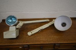 TWO CREAM INDUSTRIAL WALL LIGHTS (condition - rusty, paint peeling)