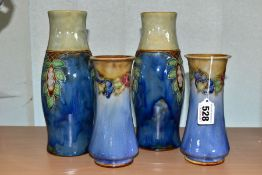 TWO PAIRS OF ROYAL DOULTON STONEWARE VASES, the smaller pair of conical form with flared rims,