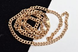 A BROKEN 9CT GOLD CURB LINK CHAIN, one link is broken, fitted with a lobster claw clasp,