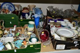 SIX BOXES AND LOOSE OF GLASSWARE AND CERAMICS, including a Zsolnay Pecs vase, model no 2821, crack