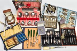 A BOX OF CASED CUTLERY SETS AND OTHER ITEMS, seven complete cased sets of white metal cutlery, to