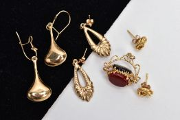 THREE PAIRS OF YELLOW METAL EARRINGS AND A SWIVEL FOB PENDANT, to include two pairs of drop