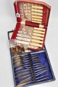 TWO CASED SETS OF FISH KNIVES AND FORKS AND A BAG OF LOOSE COINS, the first set of six placement