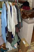 A QUANTITY OF VINTAGE AND LATER LADIES AND GENTS CLOTHING, SHOES, UNDERGARMENTS, HATS, BAGS etc