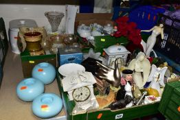 THREE BOXES AND LOOSE CERAMICS, GLASSWARES, ETC, to include an Aynsley Portlandware clock, novelty