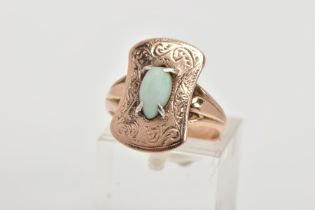 AN EARLY 20TH CENTURY 9CT GOLD OPAL RING, the ring head of a rounded rectangular shape decorated