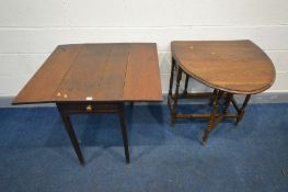 A REPRODUCTION OAK OVAL GATE LEG TABLE, together with a Georgian oak Pembroke table on square
