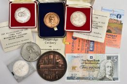 A box containing colliery related commemorative medallions to include two Silver numbered 126 and