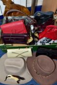 A BOX OF HANDBAGS, HATS, SHOES, ETC, to include Tula Julian McDonald, Marks and Spencer and other