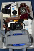 A BOX OF CAMERAS AND PHOTOGRAPHIC EQUIPMENT, to include a 'Telesmoke' Chimney Sighting device by