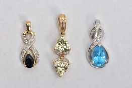 THREE GEM SET PENDANTS, the first set with two triangular cut green stones assessed as topaz,