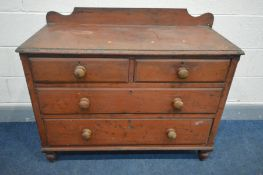 A VICTORIAN STAINED PINE CHEST OF TWO OVER TWO LONG DRAWERS, with a raised back, width 107cm x depth