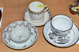THREE LATE 18TH/EARLY 19TH CENTURY ENGLISH PORCELAIN CUPS AND SAUCERS, comprising a tea bowl and