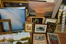 PAINTINGS AND PRINTS, ETC, to include amateur landscape oils, three Gary Patterson golf prints,
