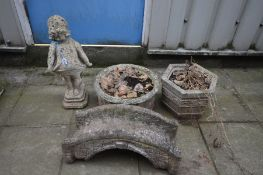 FOUR VARIOUS COMPOSITE GARDEN ITEMS, to include two composite garden planters, a figure of a child