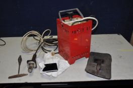AN UNBRANDED VINTAGE ELECTRIC ARC WELDER front panel over painted so no names or markings with mask,