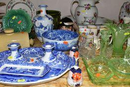 A GROUP OF CERAMICS AND GLASSWARES, to include Copeland Spode's Italian 22cm diameter bowl and