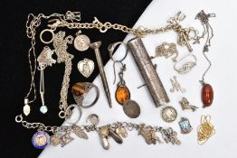 A BAG OF SILVER AND WHITE METAL JEWELLERY, to include a silver golf marker, of a circular form