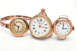 THREE EARLY 20TH CENTURY WATCHES, to include a 9ct gold watch head with black Arabic numerals, a 9ct