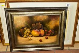 CHRISTOPHER HUGHS (BRITISH CONTEMPORARY), a still life of fruits, signed bottom right, oil on