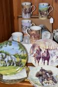 SIX COLLECTORS PLATES AND SIX MUGS, ALL FEATURING HORSES, to include a set of six Danbury Mint '