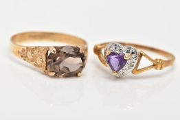 TWO 9CT GOLD GEM SET DRESS RINGS, the first designed with a four claw set, oval cut Smokey quartz