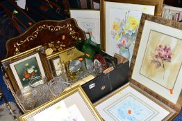 A BOX OF GLASSWARE, PAINTINGS AND PRINTS, LUGGAGE, etc, to include a Kundo anniversary clock, a twin