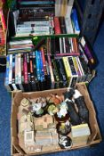 THREE BOXES OF BOOKS, CDS DVDS AND ORNAMENTS, to include three Lilliput Lane ornaments (Clare