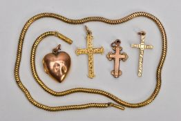 A SELECTION OF JEWELLERY, to include a 9ct yellow gold cross pendant, floral engraved design, fitted