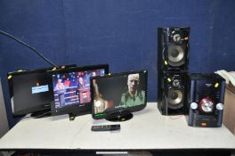 A HITACHI 19in TV/DVD COMBI, a Hitachi 22in TV, an Orion 19in TV with two Hitachi remotes and a
