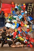A QUANTITY OF UNBOXED AND ASSORTED PLAYMOBIL FIGURES AND ACCESSORIES, to include cowboys and