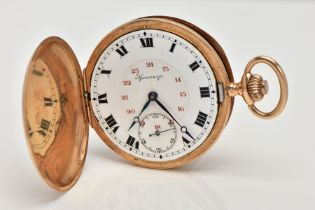 A YELLOW METAL FULL HUNTER POCKET WATCH, round white dial, Roman numerals with an inner dial of