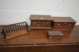 A TABLE TOP CHEST OF EIGHT MINIATURE DRAWERS, along with a stained wood bread bin, a hardwood